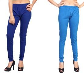 Comix Women's Dark Blue, Light Green Leggings Pack Of 2