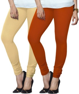 Lux Lyra Women's Beige, Orange Leggings Pack Of 2