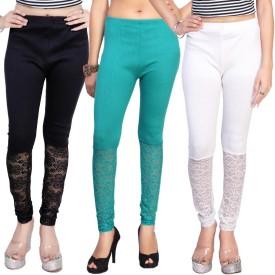 Comix Women's Dark Blue, Light Green, White Leggings Pack Of 3