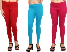 Comix Women's Red, Light Blue, Pink Leggings Pack Of 3