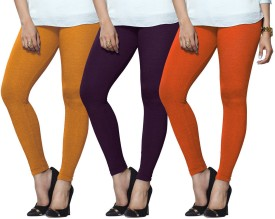 Lux Lyra Women's Yellow, Purple, Orange Leggings Pack Of 3