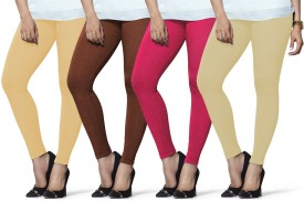 Lux Lyra Women's Beige, Brown, Pink, Beige Leggings Pack Of 4