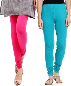Sampoorna Collection Women's Blue, Pink Leggings Pack Of 2