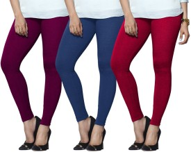 Lux Lyra Women's Purple, Light Blue, Pink Leggings Pack Of 3