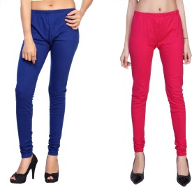 Comix Women's Dark Blue, Pink Leggings Pack Of 2