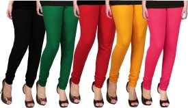 WCTrends Women's Black, Green, Red, Yellow, Pink Leggings Pack Of 5