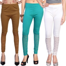 Comix Women's Beige, Brown, Light Green, White Leggings Pack Of 3