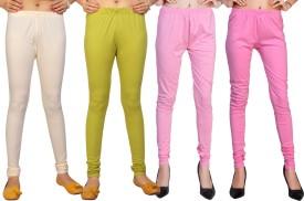 Comix Women's White, Light Green, Pink, Maroon Leggings Pack Of 4
