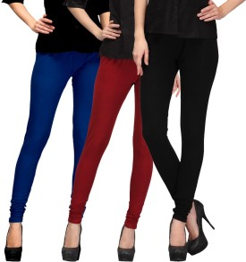 E'Hiose Women's Dark Blue, Maroon, Black Leggings Pack Of 3