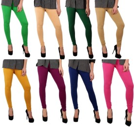 Sparkle Women's Green, Beige, Dark Green, Beige, Yellow, Purple, Blue, Pink Leggings Pack Of 8