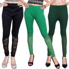 Comix Women's Dark Blue, Light Green, Green Leggings Pack Of 3