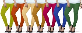 Lux Lyra Women's Light Green, Orange, Beige, Yellow, Pink, Light Blue, Dark Green Leggings Pack Of 7