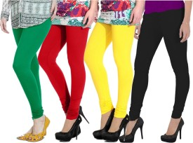 Ngt Women's Green, Red, Yellow, Black Leggings Pack Of 4