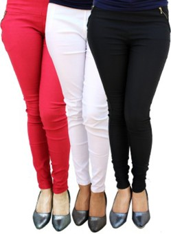Roma Creation Women's Red, White, Black Jeggings Pack Of 3