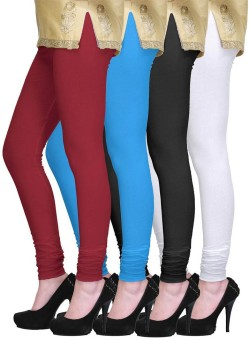 PI World Women's Maroon, Blue, Black, White Leggings Pack Of 4
