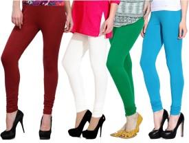 NGT Women's Maroon, Green, White, Light Blue Leggings Pack Of 4