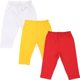 Color Fly Baby Girl's Red, White, Yellow Leggings Pack Of 3