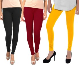 Sampoorna Collection Women's Black, Maroon, Yellow Leggings Pack Of 3