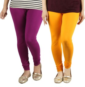 Radha's Women's Purple, Orange Leggings Pack Of 2