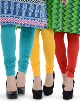 Tjaggies Women's Blue, Red, Yellow Leggings Pack Of 3