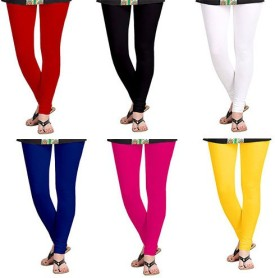 Timbre Women's White, Black, Blue, Red, Pink, Yellow Leggings Pack Of 6