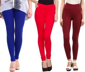 Sampoorna Collection Women's Blue, Red, Maroon Leggings Pack Of 3