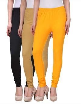 Desi Duos Women's Beige, Black, Gold Leggings Pack Of 3