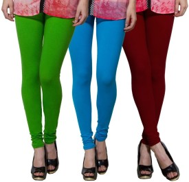 Both11 Women's Green, Light Blue, Maroon Leggings Pack Of 3