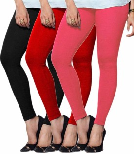 Umesh Fashion Women's Red, Pink, Black Leggings Pack Of 3