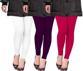 Lux Lyra Women's White, Purple, Pink Leggings Pack Of 3