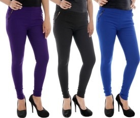 Paulzi Women's Purple, Black, Blue Jeggings Pack Of 3