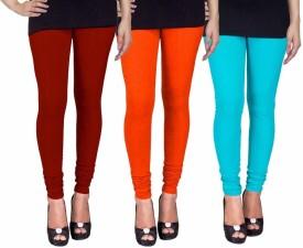 C&S Shopping Gallery Women's Maroon, Orange, Light Blue Leggings Pack Of 3