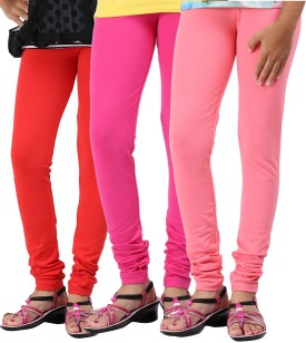Greenwich Baby Girl's Red, Green, Pink Leggings Pack Of 3