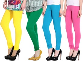 NGT Women's Yellow, Green, Light Blue, Pink Leggings Pack Of 4