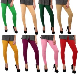 Sparkle Women's Green, Beige, Dark Green, Beige, Yellow, Purple, Pink, Red Leggings Pack Of 8