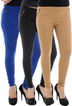 Paulzi Women's Blue, Black, Beige Jeggings Pack Of 3