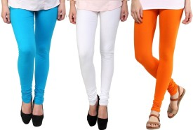 Stylobby Women's Blue, White, Orange Leggings Pack Of 3
