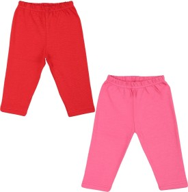 Color Fly Baby Girl's Pink, Red Leggings Pack Of 2