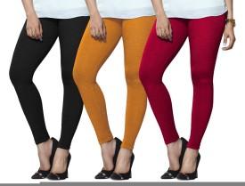 Lux Lyra Women's Black, Yellow, Pink Leggings Pack Of 3