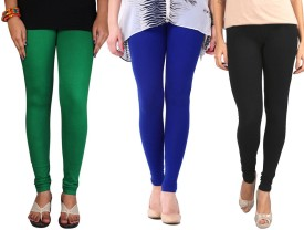 Sampoorna Collection Women's Black, Blue, Dark Green Leggings Pack Of 3