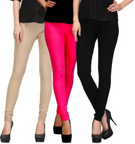 E'Hiose Women's Beige, Pink, Black Leggings Pack Of 3