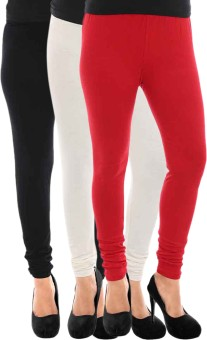Paulzi Women's Black, White, Red Leggings Pack Of 3