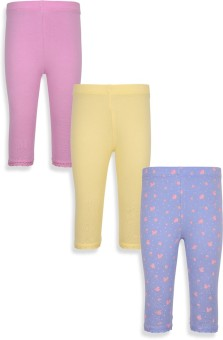 Mothercare Baby Girl's Blue, Yellow, Pink Leggings Pack Of 3