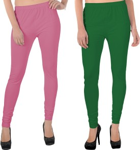X-Cross Women's Pink, Green Leggings Pack Of 2