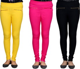 IndiStar Women's Yellow, Pink, Black Jeggings Pack Of 3
