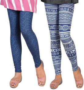 Berries Women's Blue, Black, Blue, White Leggings Pack Of 2