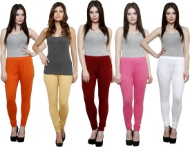 Pistaa Women's Orange, Beige, Maroon, Pink, White Leggings Pack Of 5