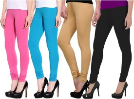 Ngt Women's Pink, Light Blue, Beige, Black Leggings Pack Of 4