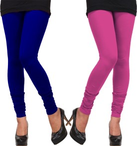 Fabfiza Women's Blue, Pink Leggings Pack Of 2