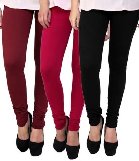 Elevate Women Women's Pink, Maroon, Black Leggings Pack Of 3